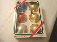 Christmas 6 multi color with glitter Medium balls tree ornaments red blue gold