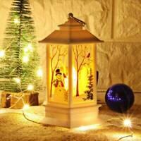 LED Christmas Castle Lights Ornaments Santa Claus Table Lamp Hanging Decor Gift