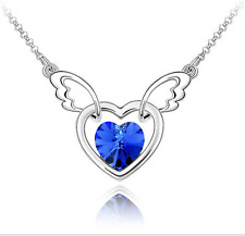 Fashion Womens Heart Blue Crystal Rhinestone Silver Chain Pendant Necklace