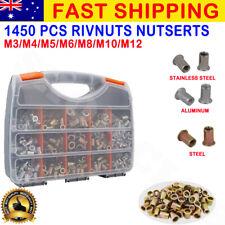 NEW 1450Pcs Rivnut Rivet Nut M3 - M12 Blind Rivnuts Nutsert Stainless steel