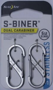 Nite Ize S-Biner 2 Pk Silver Dual Carabiner SB1-2PK-11