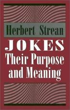 Books- Jokes : Their Purpose and Meaning by Herbert S. Strean (1977, HC DJ 1994