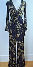 NEW LEONARD PARIS black gold print silk jersey 2 piece suit pants and top sz 40