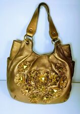 Isabella Fiore Womens Gold Metallic LeatherStarStudded Hobo Tote Bag