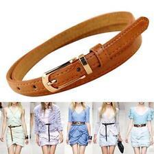 Women Lady Fashion Belt Skinny Low Waist Thin Leather Narrow Waistband Brown SG