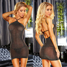 Sexy Women Lingerie Mesh Sheer Backless Bodycon Evening Party Club Mini Dress