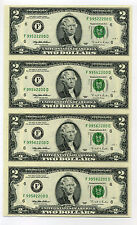 1995 Uncut Rare $2 FD Block Sheet Uncirculated 4 Notes FREE Ship L@@K!!
