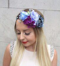 Blue Purple Rose Hydragea Flower Garland Headband Hair Crown Headpiece Boho 2846
