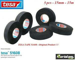 5 X TESA TAPE 51608 15mm 15m CABLE ROLL ADHESIVE CLOTH FABRIC WIRING LOOM HARNES