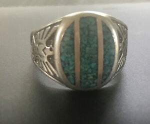 Men's Native American Navajo Sterling Silver Crushed Turquoise Ring Signed Sz 13