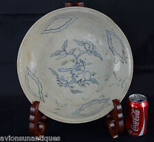 c1450 Hoi An Hoard Charger Bird Peach Tree Blue Green Glaze Chinese Ming Dynasty