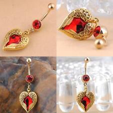 Newly Beautiful Heart Wings Dangle Belly Red Rhinestone Navel Button Ring