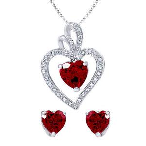 Sterling Silver Heart-Shaped Ruby Pendant & Earrings Set