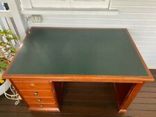 Office / Study Desk. Solid wood with green vinyl insert and 4 drawers.