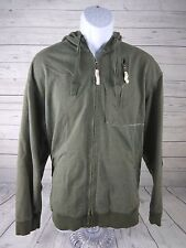 North Face Mens Hoodie Full Zip Green Hooded Long-Sleeve Jacket Large Graphics