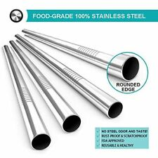 5X Stainless Steel Metal Straws Extra Wide 12mm Reusable Drinking Straws Silver