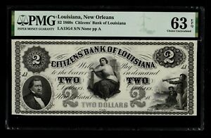 1860s Citizens' Bank of Louisiana, New Orleans $2 Two Dollars PMG 63 EPQ