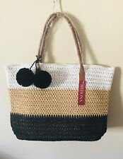 NWT Merona straw faux leather tote bag purse beach white/tan/back pompoms large