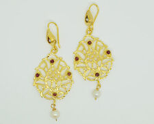 OttomanGems semi precious gem stone gold plated earrings pearl jade handmade