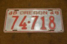 1948 Oregon License Plate Ford Dodge Plymouth Chrysler Chevrolet