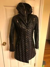 Dawn Levy Hooded Quilted Jacket Coat Puffer With Vest sz M Black $595
