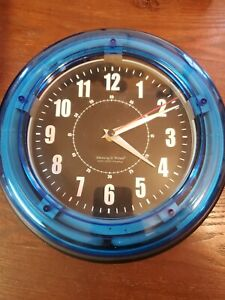 """Sterling and Noble 11"""" Vibrant Blue Neon Analog Wall Clock. SUS"""