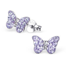 Girls 925 Sterling Silver Butterfly Stud Earrings with Lilac Crystals Boxed (W27