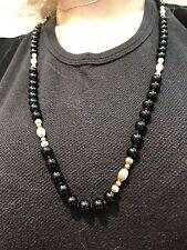 "Vintage 30"" Black Onyx & 14K Yellow Gold Bead Necklace"