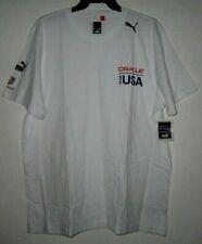 ORACLE TEAM USA PUMA TAG HEUER Logo White Basic Knit T Tee Shirt Men 2XL VTG NWT