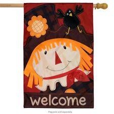 """Scarecrow Fall Applique House Flag Autumn 28"""" x 40"""" Briarwood Lane"""