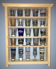 25 Shot Glass Shelf Display Case Knick Knack Rack Collectibles Unfinished Wood