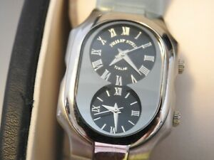 Philip Stein Teslar Dual time Quartz, Wrist Watch with Box, Needs Battery