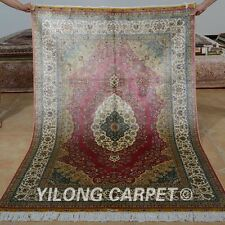 Yilong 4'x6' Persian Handknotted Silk Rugs Kerman Living Room Pink Carpet 0693