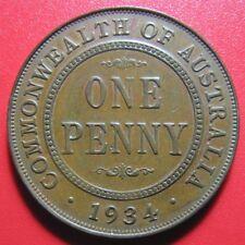 AUSTRALIA 1934 ONE 1 PENNY GEORGE V MELBOURNE MINT AUSTRALIAN WORLD COIN c#2