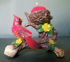 Vintage sewing pin cushion red bird cardinal with nest flowers