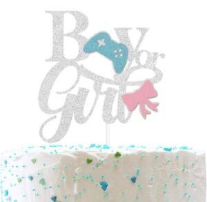 Boy or Girl Silver Glitter Baby Shower Cake Topper Gender Reveal Prenancy