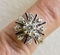TRUBRITE 14K White Gold Diamond Cluster Ring  Sz 4 1/2 cocktail .38ctw - 5.32gm