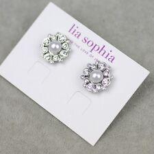 Lia sophia signed jewelry faux pearl cut crystal stud earrings silver tone plate