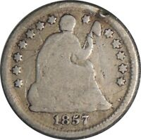 1857-P H10C SEATED SILVER HALF DIME GOOD DETAILS RIM NICK / SCRATCHES 041521046