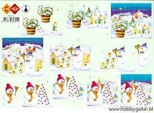 3D A4 Paper Tole Christmas Snowman 3 Pictures NEW