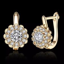 18K REAL GOLD FLOWER FILLED HOOP EARRINGS MADE WITH ROUND SWAROVSKI CRYSTAL HE5