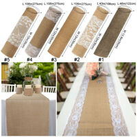 Natural Burlap Table Runner Table Topper Cover White Lace Wedding Party  Decor