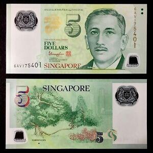 2020 SINGAPORE 5 DOLLARS POLYMER P-NEW UNC> > > >W/1 STAR GARDEN CITY THARMAN NR