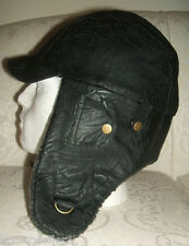 BNWT PRIMARK MENS BLACK FAUX LEATHER / GREY FAUX FUR WINTER PVC TRAPPER HAT