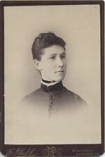 CABINET CARD PORTRAIT OF BEAUTIFUL YOUNG WOMAN IN HIGH COLLAR DRESS -PITTSBURGH