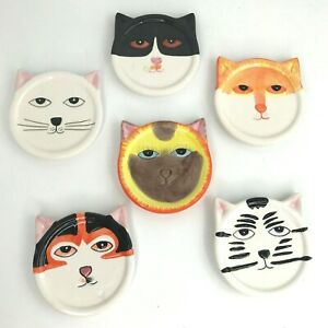 Set of 6 Bandwagon Ceramic Cat Face Drink Coasters Hand Painted Plate Pet Tray