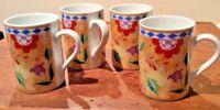 LOT OF 4 STUDIO NOVA FLORITA TPC04 OVEN TO TABLE FINE CHINA COFFEE OR TEA MUGS