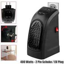Calefactor Negro 400W Conector 2 Pin Schuko Calentador para Hogar Casa Viajes