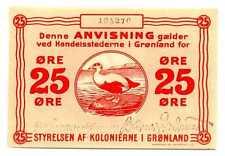 Greenland Styrelsen af Kolonierne i Gronland State Note 25 Ore 1913 AU/UNC RARE