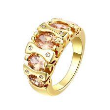 18K Gold GP Lady's Swarovski Crystal Wedding Engagement Band Ring Size 8 Fashion